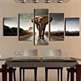 Lot de 5pcs Peinture sur Toile Tableau Mural Art Décoration pour Maison - Eléphant, L