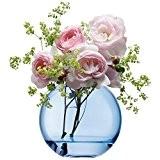 LSA International 11cm Polka Vase, Verre, bleu, 12 x 12 x 11 cm