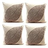 luxbon 4pcsveins de feuille décoratif Housse de coussin de canapé taie d'oreiller en lin en coton durable Shabby Chic Home ...