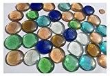 Mélange cabochon en verre Nuggets 3,5cm 600g boules décoratives multicolores Plat Verre Décoration Table billes en verre de vase décoratif ...