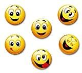 Merchandise For Fans Motif Smiley bonne humeur riant–6grands aimants de réfrigérateur 5,9cm, 1
