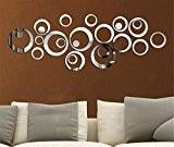 Mercurymall? Miroir autocollant autocollant 3D design moderne conception future metal surface decoration murale vignette salon chambre a coucher (Miroir argent)