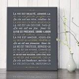 Mes Mots Déco CV-MT-6F-003 La Vie est Beauté Mère Teresa Tableau Toile Ardoise/Or 33 x 2 x 41 cm