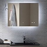 Miroir de salle de bain LED beleuchtetmit Horloge, Arzberg 80x 60cm, Miroir de salle de classe énergétique A +