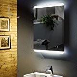Miroir de salle de bain lumineux avec LED intégrée Antib eschlg Chauffage de miroir, pieds 60x 80cm, montage horizontale et ...