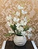 Mode Bouquet,fleurs artificielles 18 «arrangement d'orchidée H Blanc Violet avec la boule Vase , pure white