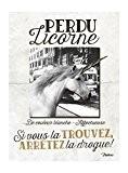 NATIVES 612310 Perdu Licorne Plaque Métal Multicolore 15 x 20 x 2 cm