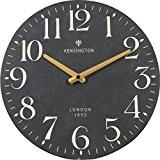 NIKKY HOME Round Wall Clock Silent Quartz Analog France Retro Style Vintage Handmade Decorative Wooden 32CM Black