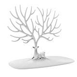 NUOLUX Décoratifs Deer Antler arbre Design Bracelet Collier titulaire / organisateur bijoux Stand w / Bague plateau (blanc)