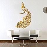 Paon Doré Sticker mural Motif oiseaux en Art Salon en vinyle Papier peint Motif graphique Hall