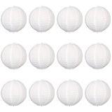 Paper lanterns UK Lot de 12 suspensions rondes en papier type lampion avec structure en fil de fer Blanc 30 ...