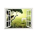 Papier peint 3D Fenêtre Jardin Cheval mur autocollants maison décoration amovible murale DIY Decor