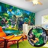 papier peint chambre d'enfants animaux peinture murale décoration murale jungle animaux du zoo nature safari aventure tigre lion éléphant et ...
