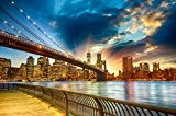 Papier Peint Photo Mural-MANHATTAN SUNSET (39P)-350x260cm 7 lés (chague 50x260cm)-IMPRESSION NUMÉRIQUE haute qualité photoréaliste!-La Colle Inclus-Poster Géant XXL New York ...