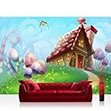 Papier peint photo non tissé Dream Pays. Papier peint enfants chambre d'enfant Conte Fée elfes Pays des contes Princesse, multicolore