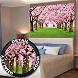 Papier peint qui montre des cerisiers - forêt avec des cerisiers – Image murale du Printemps de couleur rose pâle ...