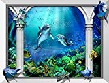Papier peint trompe l'oeil effet 3D intissé épais / Tapisserie numérique « Fond marin – Les dauphins 2 » 315(L) ...