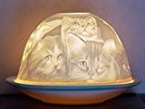 Photophore en porcelaine motif chat pour bougie chauffe-plat