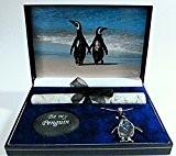 """Pingouin Boîte Cadeau """"Une promenade sur la plage avec Ormeau Pendentif Pingouin"""