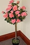 Plantes artificielles - Rosier demi-tige artificiel, hauteur 1m - Coloris rose