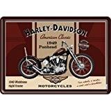 PLAQUE METAL MOTO CLASSIC 1949 - LICENCE HARLEY DAVIDSON - 10x14 cm
