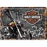 PLAQUE METAL MOTO FAVORITE - LICENCE HARLEY DAVIDSON - 10x14 cm - FRAIS OFFERT