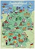 Poster Carte de l'Allemagne Chambre Pays DIN A3