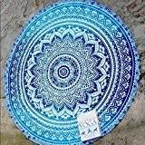 QHGstore Fader Rond Couleur Coton Tippet Nappe Serviette de plage ronde de tapis de yoga Bleu 150cm