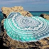 QHGstore Fader Rond Couleur Coton Tippet Nappe Serviette de plage ronde de tapis de yoga vert 150cm