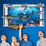 RAIN QUEEN Loisirs Créatifs DIY Art Animal Sticker Mural Wall Stickers Paroi Murale Geant Autocollant 3D Requin La Mer