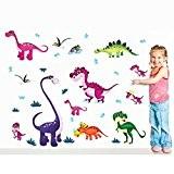 RAIN QUEEN Loisirs Créatifs DIY Art Animal Sticker Mural Wall Stickers Paroi Murale Geant Autocollant 3D Mignon Dinosaure