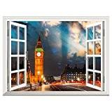 RAIN QUEEN Papier Peint 60X81 cm Géant Tableau Mural Autocollant Amovible Decoration Wall Art Fenêtre Moderne Ville (Londres Nuit)