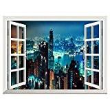 RAIN QUEEN Papier Peint 90X122 cm Géant Tableau Mural Autocollant Amovible Decoration Wall Art Fenêtre Moderne Ville (New York Nuit)