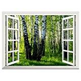 RAIN QUEEN Papier Peint 90X122 cm Géant Tableau Mural Autocollant Amovible Decoration Wall Art Fenêtre Magnifique Paysage (Forêt)