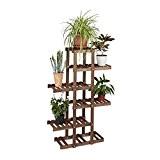 Relaxdays Etagère à fleurs en bois escalier pour plantes 5 niveaux échelle plantes intérieure HxlxP: 125 x 81 x 25 ...