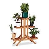 Relaxdays Etagère à fleurs en bois escalier pour plantes échelle 3 étages 5 places HxlxP: 82,5 x 83 x 28,5 ...