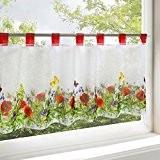 Rideau brise-bise FLEURS DES CHAMPS pour cuisine / rideau bistrot salle de séjour blanc / 45x90 cm / rideau moderne ...