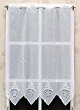 Rideau Brise bise polyester Hauteur 87 cm Blanc Brodé Réf. 3145.90.Veuillez noter une chose IMPORTANTE ! 1 unité = 16 ...