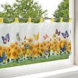 Rideau brise-bise TOURNESOL pour cuisine / rideau bistrot salle de séjour blanc / 45x90 cm / rideau moderne et transparent ...