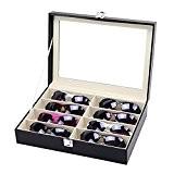 Rightvp Présentoir coffret boîte à bijoux en cuir pour 8 lunettes Glass Top Anneau Insert Display Showcase lunette Plateau,Lunettes de ...