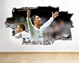 Ronaldo Real Madrid en vinyle chocs garçons chambre Papier peint autocollant mural 3D Art Stickers (Taille M (52x 52x 30cm))