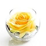 Rose artificielle dans un verre, jaune, 8 cm, Ø 10 cm - fleur artificielle / rose décorative - artplants