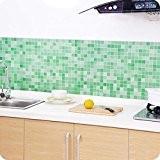 Saingace La Salle de Bains Toilettes Autocollants Auto-adhésifs Papier Peint de Carreaux de Mosaïque Imperméable (Vert)