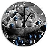savoureuse variété de fruits dans un bol en bois noir blanc, diamètre 30cm / horloge murale avec le noir a ...