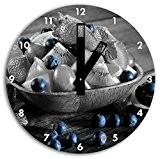 savoureuse variété de fruits dans un bol en bois noir blanc, diamètre 30cm / horloge murale avec du noir au ...
