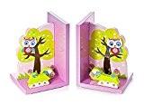 Serre-livres chouette rose en bois pour une chambre de bébé ou de petite fille