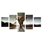 Set de 5pcs Peinture sur Toile Tableau Mural Art Décoration pour Maison - Eléphant, S