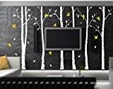 Six Grand Bouleau arbres avec oiseaux Sticker mural en vinyle Papier peint Art Mural pour décoration de chambre, White And ...