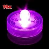 SODIAL(R) Decor LED submersible Photophore * Mariage ou evenements * (Paquet de 10) - Violet