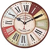 Soledi 12 inch Horloge Murale Vintage Chiffres Romains Design Métal Rusted Style Pays Tuscan Bois